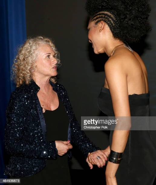 Honoree Carole King and singer Judith Hill attend 2014 MusiCares Person Of The Year Honoring Carole King at Los Angeles Convention Center on January...