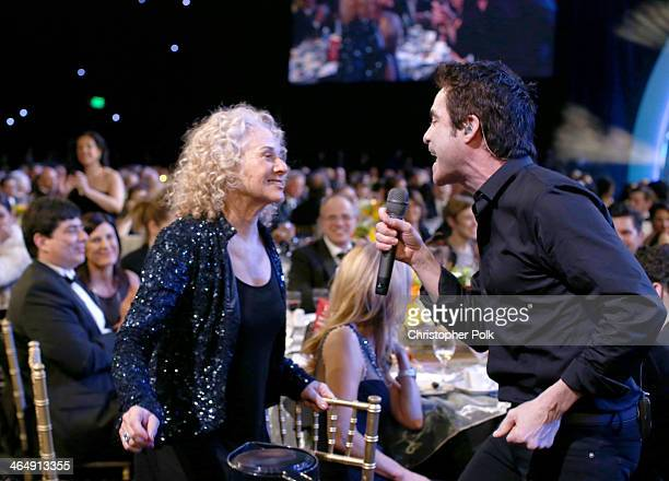 Honoree Carole King and singer Pat Monahan attend 2014 MusiCares Person Of The Year Honoring Carole King at Los Angeles Convention Center on January...