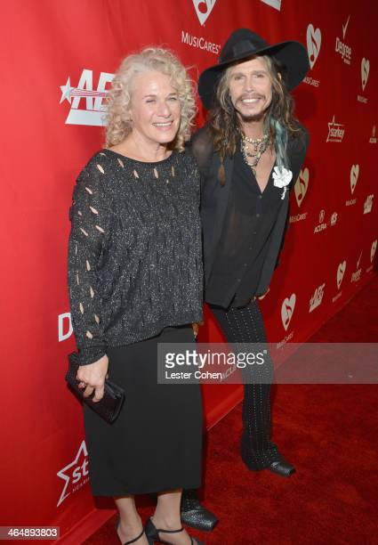 Honoree Carole King and singer Steven Tyler attend 2014 MusiCares Person Of The Year Honoring Carole King at Los Angeles Convention Center on January...