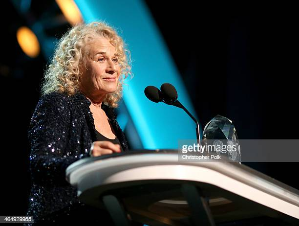 Honoree Carole King speaks onstage at 2014 MusiCares Person Of The Year Honoring Carole King at Los Angeles Convention Center on January 24 2014 in...