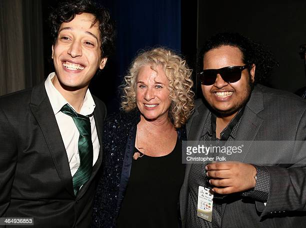 Honoree Carole King with musicians Ahmad El Haggar and Moez Dawad attend 2014 MusiCares Person Of The Year Honoring Carole King at Los Angeles...