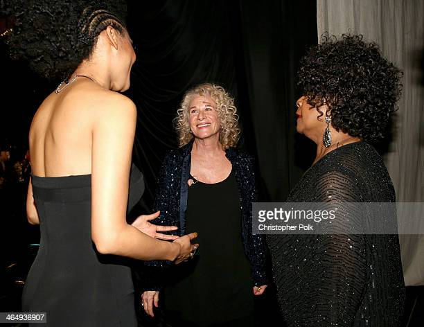 Honoree Carole King with singers Judith Hill and Merry Clayton attend 2014 MusiCares Person Of The Year Honoring Carole King at Los Angeles...