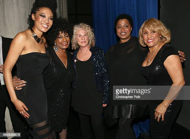 Honoree Carole King with singers Judith Hill Merry Clayton Lisa Fischer and Darlene Love attend 2014 MusiCares Person Of The Year Honoring Carole...