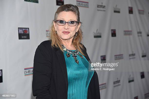Honoree Carrie Fisher attends the USIreland Aliiance's Oscar Wilde Awards event at JJ Abrams' Bad Robot on February 19 2015 in Santa Monica California