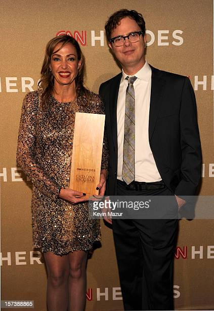 Honoree Catalina Escobar of the Juan Felipe Gomez Escobar Foundation and actor Rainn Wilson attend the CNN Heroes An All Star Tribute at The Shrine...