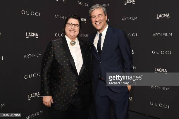 Honoree Catherine Opie wearing Gucci and LACMA CEO and Wallis Annenberg Director Michael Govan wearing Gucci attend 2018 LACMA Art Film Gala honoring...