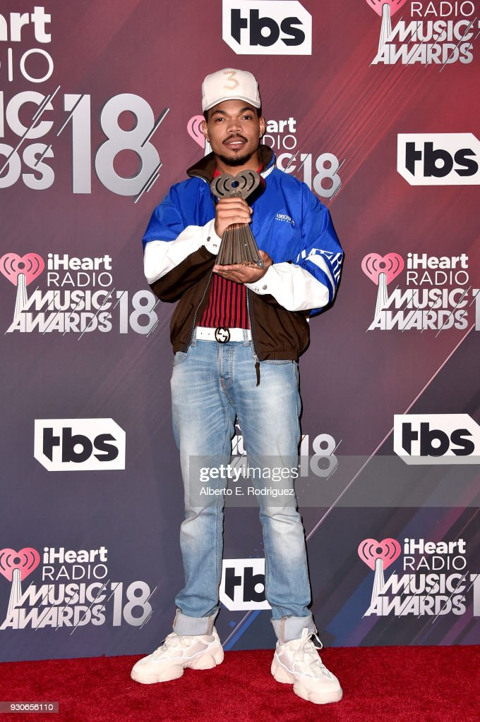 Honoree Chance The Rapper, recipient of the Innovator Award, poses in the press room during the 2018 iHeartRadio Music Awards which broadcasted live on TBS, TNT, and truTV at The Forum on March 11, 2018 in Inglewood, California.