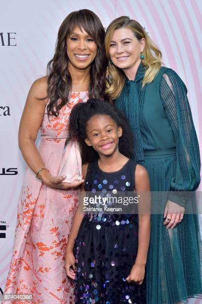 Honoree Channing Dungey and Ellen Pompeo pose with The Lucy Award for Excellence in Television during the Women In Film 2018 Crystal Lucy Awards...