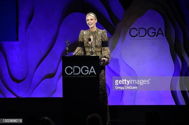Honoree Charlize Theron accepts the Spotlight award onstage during the 22nd CDGA at The Beverly Hilton Hotel on January 28 2020 in Beverly Hills...