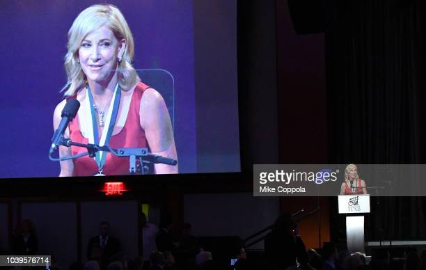 Honoree Chris Evert speaks onstage during the 33rd Annual Great Sports Legends Dinner which raised millions of dollars for the Buoniconti Fund to...