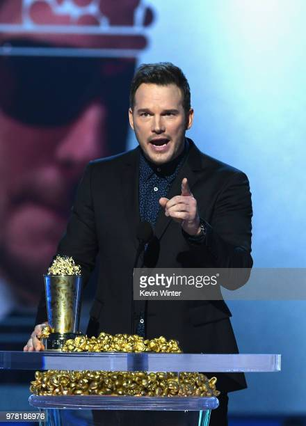 Honoree Chris Pratt accepts the MTV Generation Award onstage during the 2018 MTV Movie And TV Awards at Barker Hangar on June 16 2018 in Santa Monica...