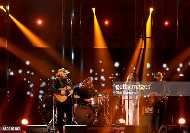Honoree Chris Stapletpn and Morgane Stapleton perform onstage at the 2017 CMT Artists Of The Year on October 18 2017 in Nashville Tennessee