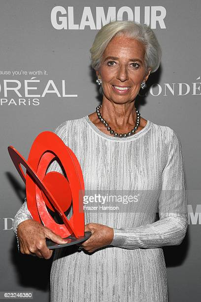 Honoree Christine Lagarde poseds with an award at Glamour Women Of The Year 2016 at NeueHouse Hollywood on November 14 2016 in Los Angeles California