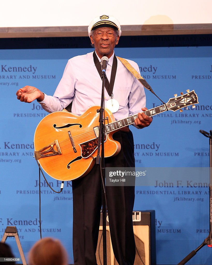 Honoree Chuck Berry performs 'Johnny B. Goode' in lieu of an acceptance speech at the 2012 Awards for Lyrics of Literary Excellence at The John F. Kennedy Presidential Library And Museum on February 26, 2012 in Boston, Massachusetts.
