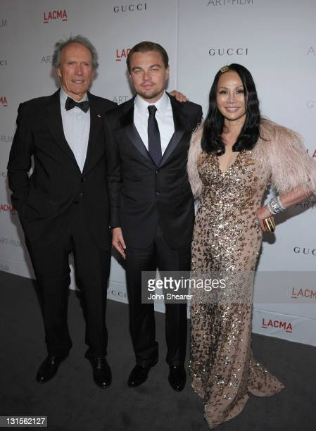Honoree Clint Eastwood cochair Leonardo DiCaprio and trustee and cochair Eva Chow attend LACMA Art Film Gala Honoring Clint Eastwood and John...