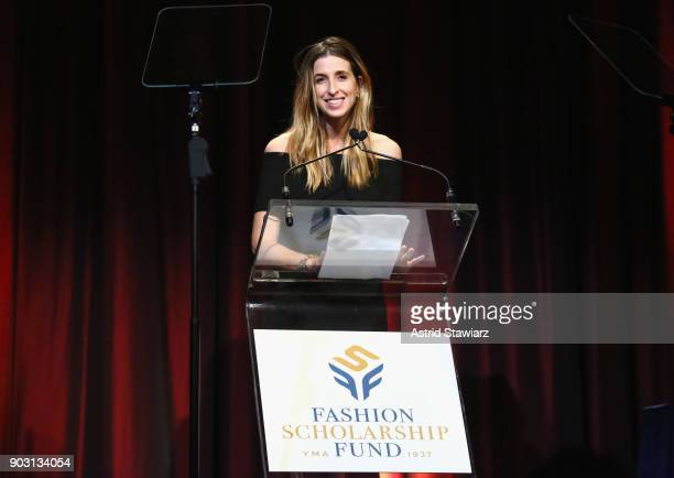 Honoree, Co-Founder & CEO of Birchbox Katia Beauchamp speaks on stage during the 81st Annual YMA Fashion Scholarship Fund National Merit Scholarship...