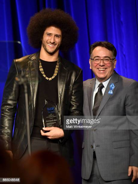 Honoree Colin Kaepernick and Hector Villagra executive director at ACLU Southern California onstage at ACLU SoCal Hosts Annual Bill of Rights Dinner...