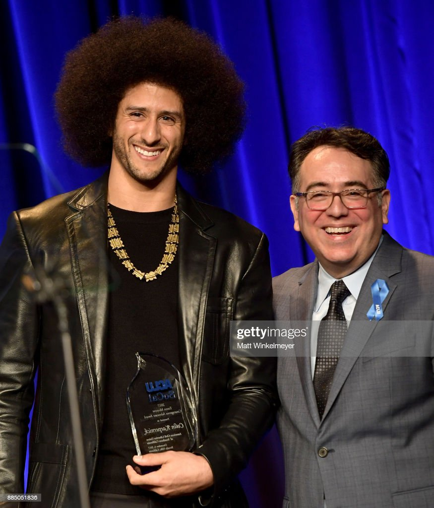 Honoree Colin Kaepernick (L) and Hector Villagra, executive director at ACLU Southern California, onstage at ACLU SoCal Hosts Annual Bill of Rights Dinner at the Beverly Wilshire Four Seasons Hotel on December 3, 2017 in Beverly Hills, California.