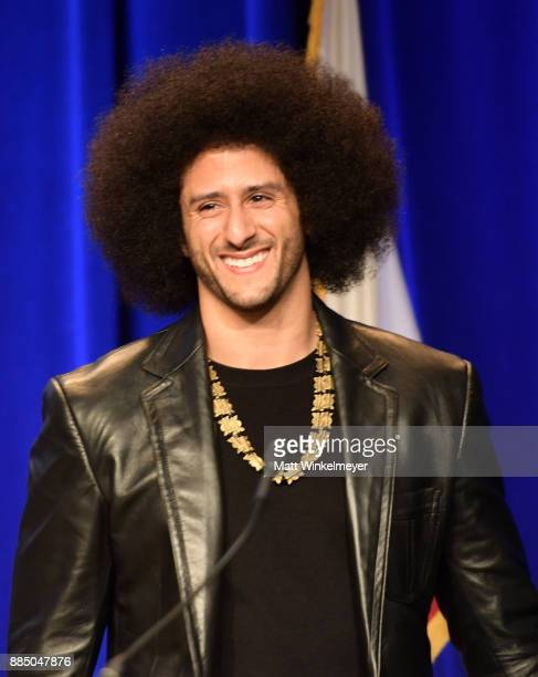 Honoree Colin Kaepernick speaks onstage at ACLU SoCal Hosts Annual Bill of Rights Dinner at the Beverly Wilshire Four Seasons Hotel on December 3,...