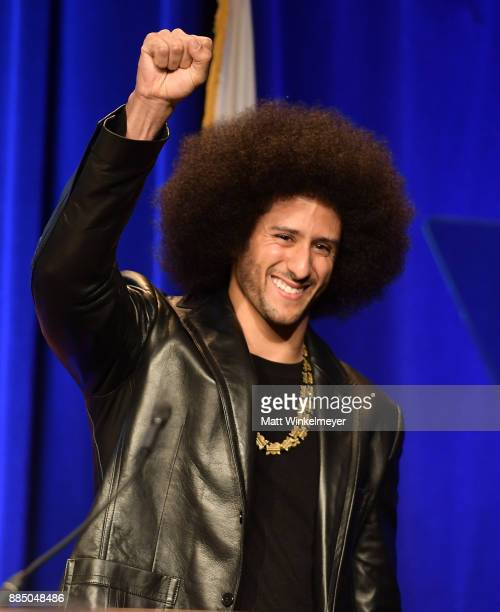 Honoree Colin Kaepernick speaks onstage at ACLU SoCal Hosts Annual Bill of Rights Dinner at the Beverly Wilshire Four Seasons Hotel on December 3...