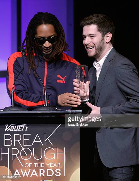 Honoree Colin Kroll accepts the Breakthrough Award for Emerging Technology from rapper Lil Jon onstage at the Variety Breakthrough of the Year Awards...