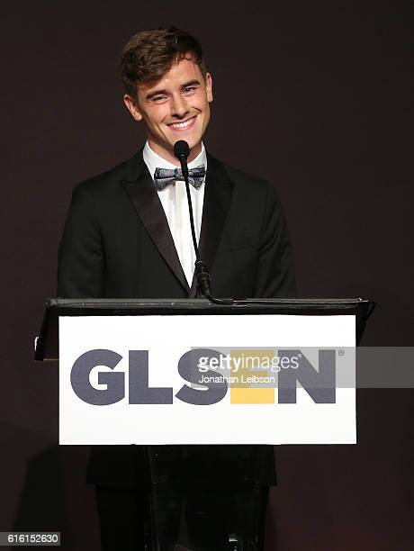 Honoree Connor Franta speaks onstage during the 2016 GLSEN Respect Awards Los Angeles at the Beverly Wilshire Four Seasons Hotel on October 21 2016...
