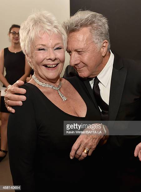 Honoree Dame Judi Dench and actor Dustin Hoffman attend the BAFTA Los Angeles Jaguar Britannia Awards presented by BBC America and United Airlines at...