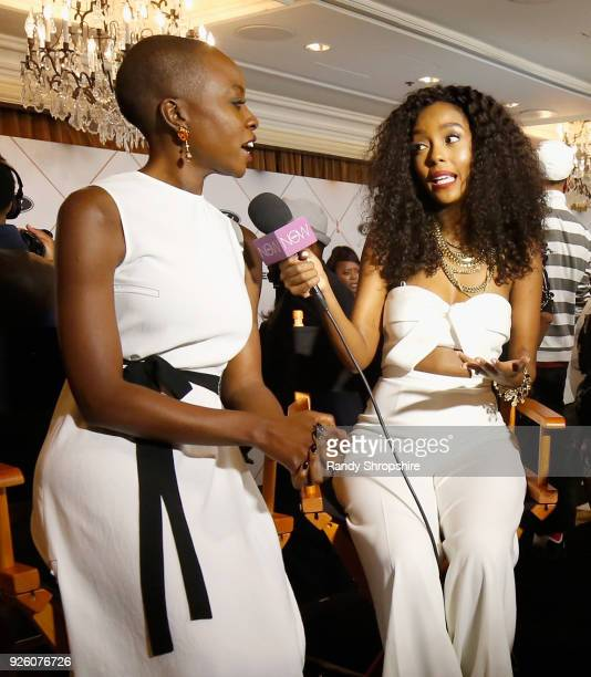 Honoree Danai Gurira and Makho Ndlovu attend the 2018 Essence Black Women In Hollywood Oscars Luncheon at Regent Beverly Wilshire Hotel on March 1...