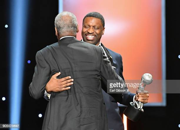 Honoree Danny Glover accepts the President's Award from president and CEO of the NAACP Derrick Johnson speaks onstage at the 49th NAACP Image Awards...