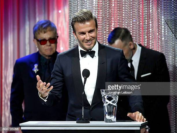Honoree David Beckham speaks onstage during the Sixth Biennial UNICEF Ball Honoring David Beckham and C L Max Nikias presented by Louis Vuitton at...