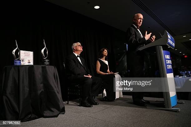 Honoree David G Bradley owner of Atlantic Media speaks on stage at the James W Foley Freedom Awards at The Newseum on May 3 2016 in Washington DC The...
