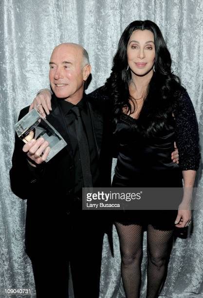 Honoree David Geffen and singer Cher attend the 2011 PreGRAMMY Gala and Salute To Industry Icons Honoring David Geffen at Beverly Hilton on February...