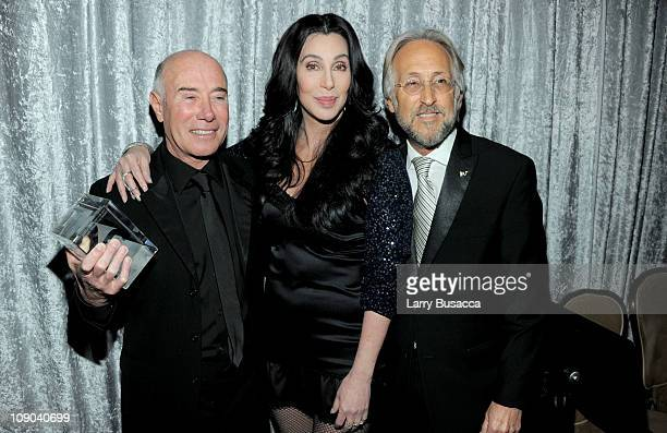 Honoree David Geffen Singer Cher and Recording Academy President Neil Portnow arrives at the 2011 PreGRAMMY Gala and Salute To Industry Icons...