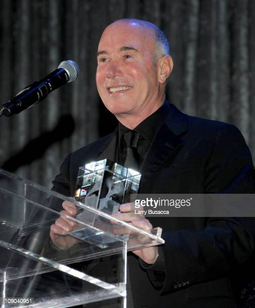 Honoree David Geffen speaks onstage at the 2011 PreGRAMMY Gala and Salute To Industry Icons Honoring David Geffen at Beverly Hilton on February 12...