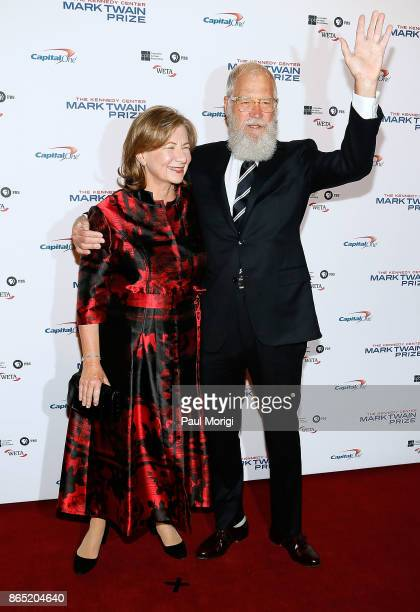 Honoree David Letterman and his wife Regina Lasko arrive to the 2017 Mark Twain Prize for American Humor at The Kennedy Center on October 22 2017 in...