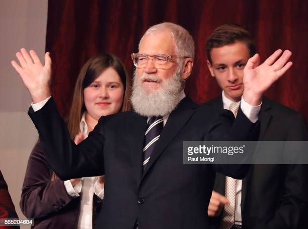 Honoree David Letterman waves from the balcony during the 2017 Mark Twain Prize for American Humor at The Kennedy Center on October 22 2017 in...