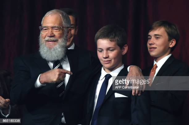 Honoree David Letterman with wife Regina Lasko greets his son Harry during the show at the 20th Annual Mark Twain Prize for American Humor at the...