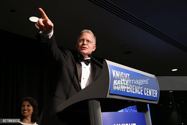 Honoree David Rohde speaks at the James W Foley Freedom Awards at The Newseum on May 3 2016 in Washington DC The James W Foley Legacy Foundation was...