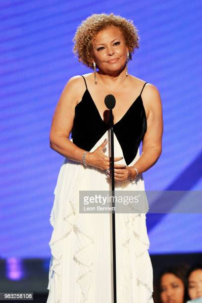 Honoree Debra L Lee accepts the Ultimate Icon Award onstage at the 2018 BET Awards at Microsoft Theater on June 24 2018 in Los Angeles California