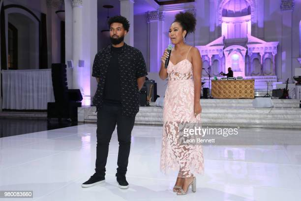 Honoree Debra Lees children Quinn Coleman and Ava Coleman speak to the guest during the 2018 BET Awards Debra Lee PreBET Awards Dinner at Vibiana on...