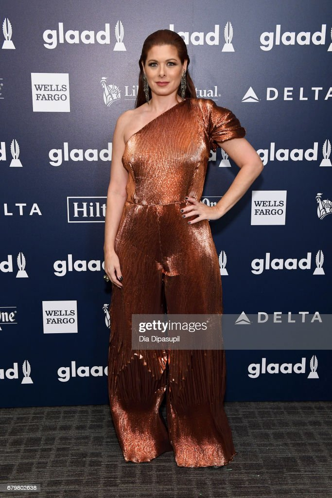Honoree Debra Messing poses backstage at the 28th Annual GLAAD Media Awards at The Hilton Midtown on May 6, 2017 in New York City.