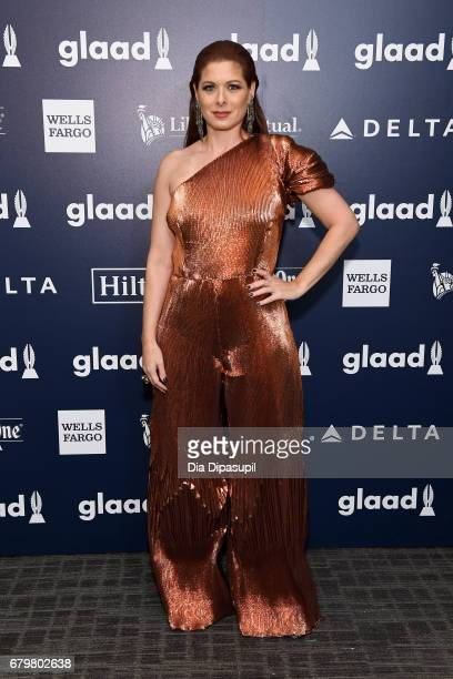 Honoree Debra Messing poses backstage at the 28th Annual GLAAD Media Awards at The Hilton Midtown on May 6 2017 in New York City