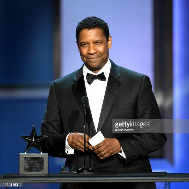 Honoree Denzel Washington speaks onstage during the 47th AFI Life Achievement Award honoring Denzel Washington at Dolby Theatre on June 06, 2019 in...