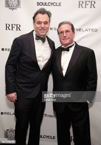 Honoree Derek McLane and host Andrew Farkas attend as the Hasty Pudding Institute awards Derek McLane with the Order of the Golden Sphinx at The...
