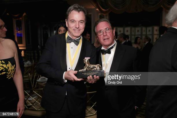 Honoree Derek McLane and host Andrew Farkas pose as the Hasty Pudding Institute awards Derek McLane with the Order of the Golden Sphinx at The Pierre...