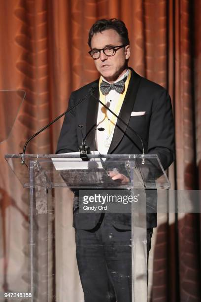 Honoree Derek McLane speaks onstage as the Hasty Pudding Institute awards Derek McLane with the Order of the Golden Sphinx at The Pierre Hotel on...