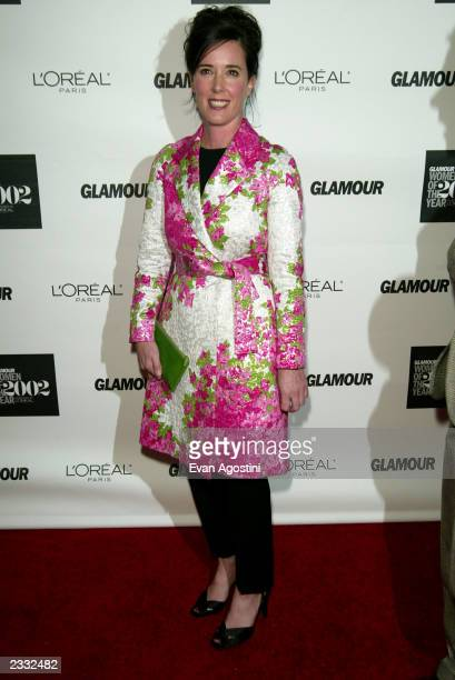 Honoree designer Kate Spade arriving at the 2002 Glamour Magazine Women of the Year Awards at The Metropolitan Museum of Art in New York City October...