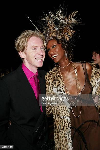 Honoree designer Philip Treacy and presenter Iman attend The Fashion Group International's 20th Annual Night of Stars Awards Gala at Cipriani's 42nd...
