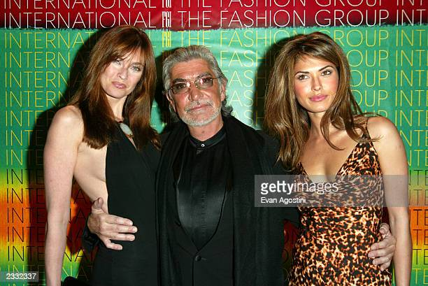 Honoree designer Roberto Cavalli with model Carol Alt and Miss Universe 2002 Justine Pasek at The Fashion Group International's 19th Annual Night Of...