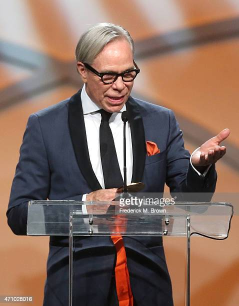 Honoree, designer Tommy Hilfiger, accepts the Race to Erase MS Medal of Hope Award onstage during the 22nd Annual Race To Erase MS Event at the Hyatt...